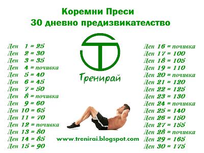 Коремни преси - 30 дневно предизвикателствоо