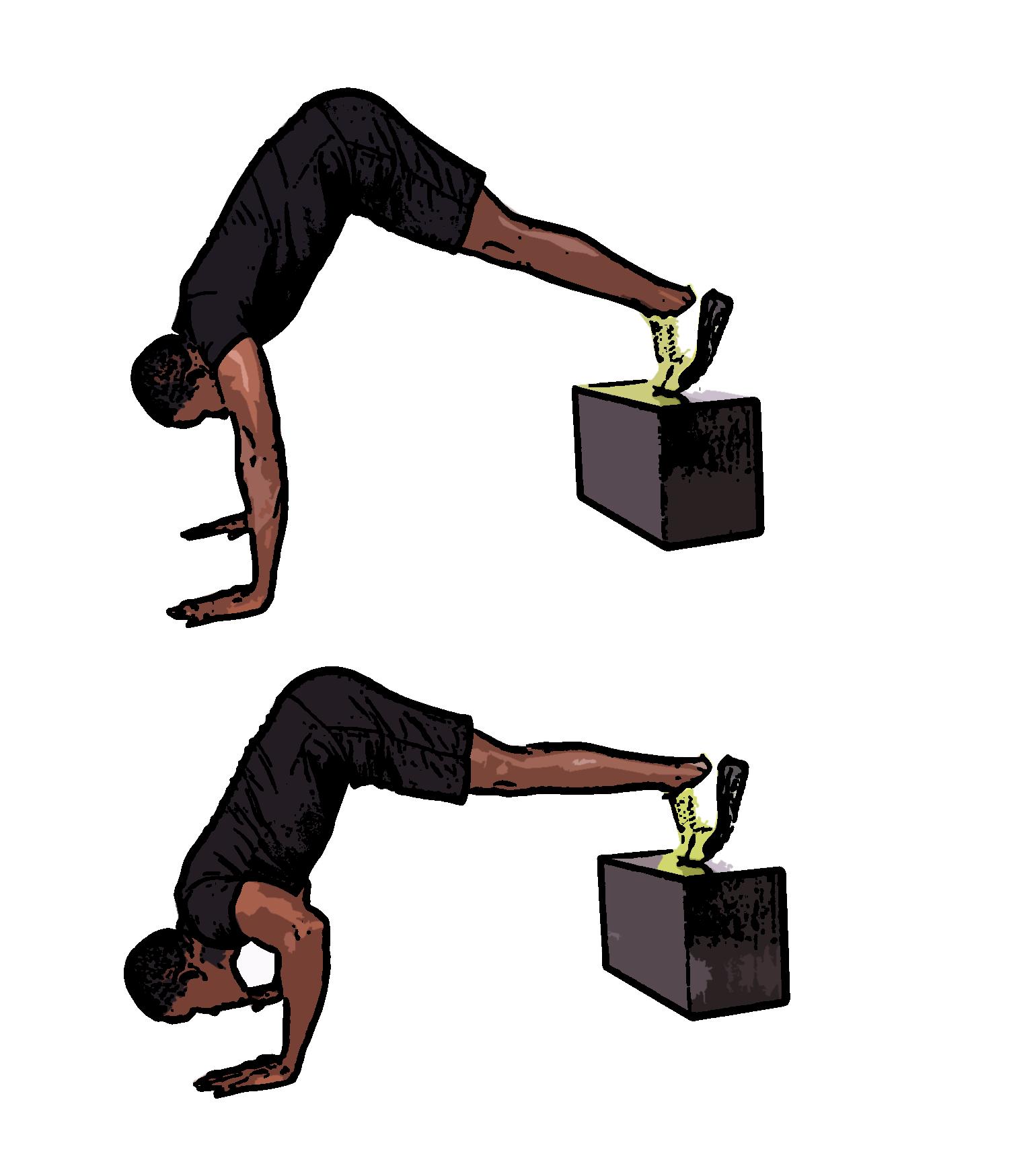 Пример за изпълнение на лицеви опори за рамо с повдигнати крака