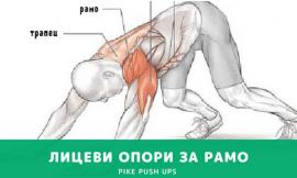 Лицеви опори за рамо (Pike push ups) Упражнение за рамо