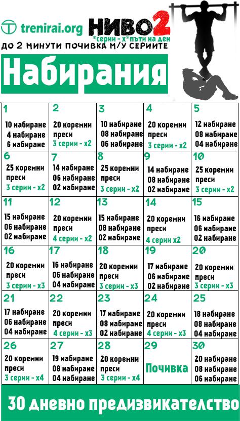 Набирания - 30 дневно предизвикателство (НИВО 2)